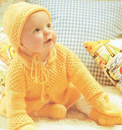1475H baby matinee coat set vintage knitting pattern  PDF Download