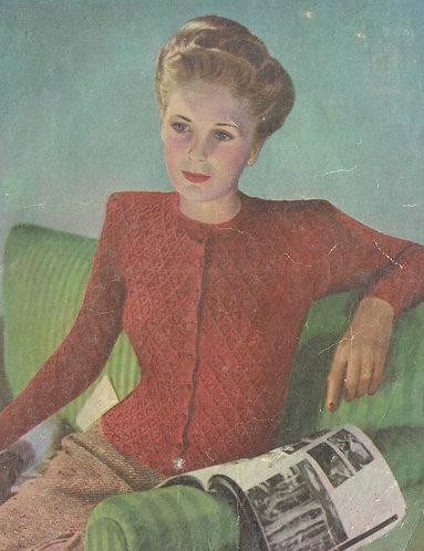 1945A ladies cardigan vintage knitting pattern PDF Download