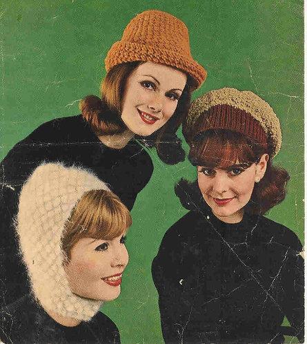 420H ladies hats Vintage knitting pattern  PDF Download
