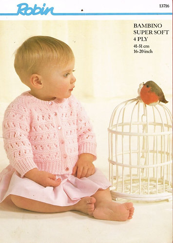13716R baby cardigan vintage knitting pattern  PDF Download