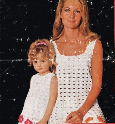 5T mother and daughter dress vintage crochet pattern  PDF Download