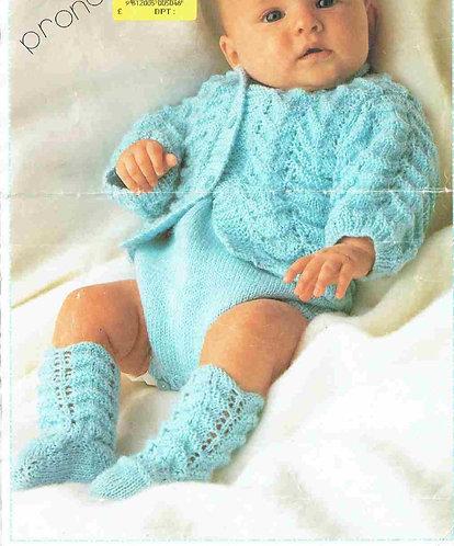8718P baby cardigan set vintage knitting pattern  PDF Download
