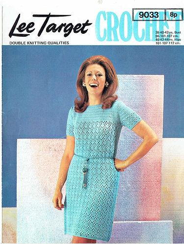 9033Lt ladies dress vintage crochet pattern  PDF Download