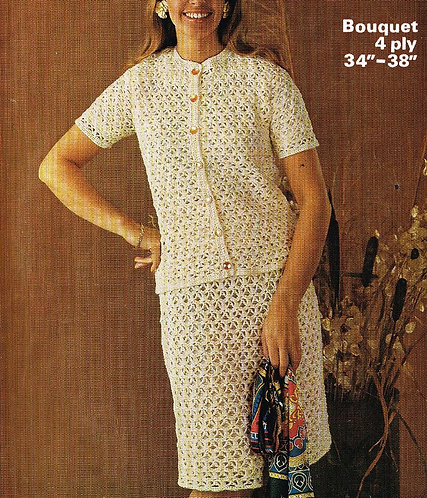 1603 ladies cardigan skirt suit Vintage crochet pattern  PDF Download
