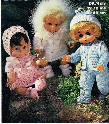 1768M dolls clothes vintage knitting pattern  PDF Download