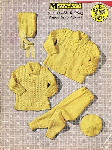 275M baby pram suit vintage knitting pattern  PDF Download