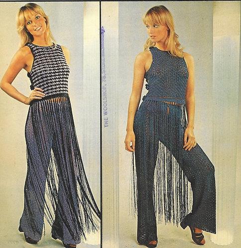 5127T ladies trouser suit vintage crochet pattern  PDF Download
