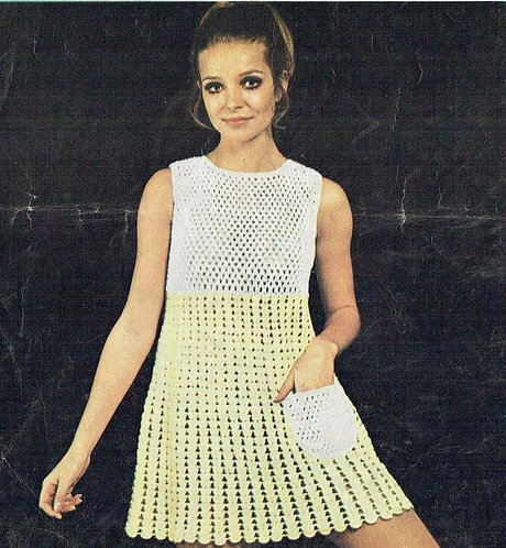84T ladies dress vintage crochet pattern  PDF Download
