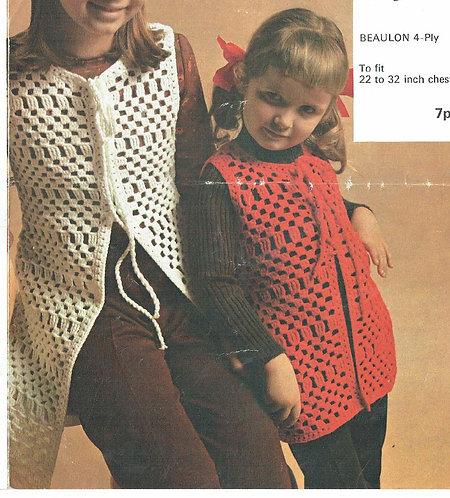 913H girls waistcoat Vintage crochet pattern  PDF Download