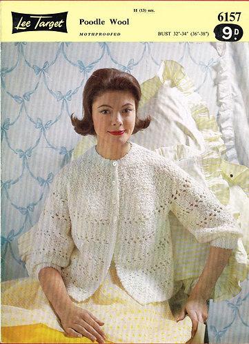 6157Lt ladies bedjacket vintage knitting pattern  PDF download