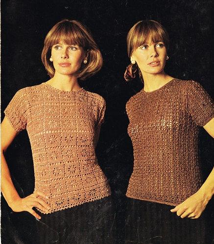 808T ladies summer top vintage crochet pattern  PDF Download