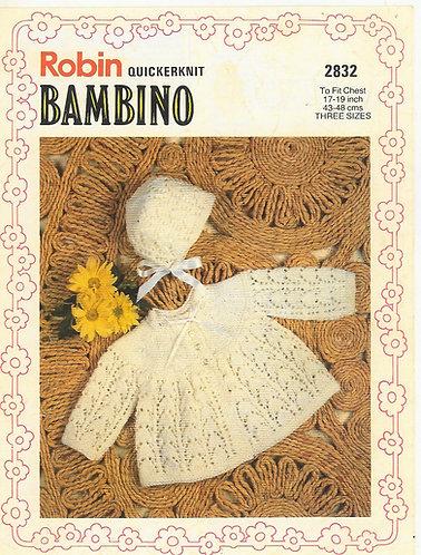 2832R baby matinee coat set vintage knitting pattern  PDF Download
