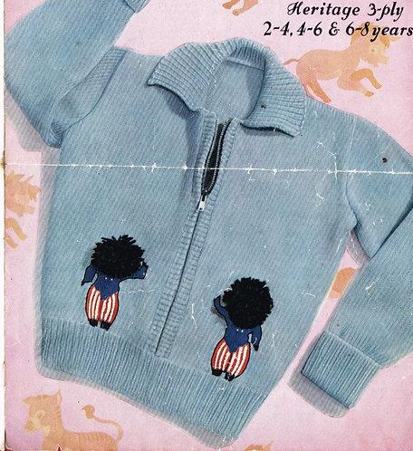 172M childrens golly cardigan vintage knitting pattern  PDF Download