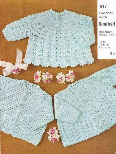 917H baby matinee coat vintage crochet pattern  PDF Download