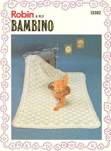 13202R baby shawl vintage knitting pattern  PDF Download