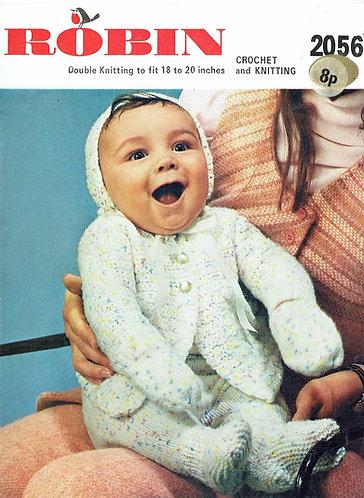 2056R baby matinee coat pram suit vintage knitting crochet pattern  PDF Download