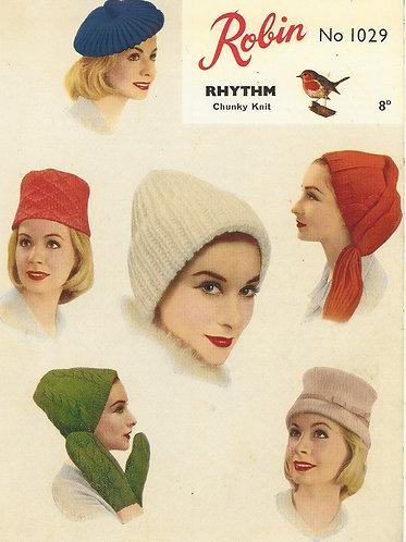 1029R ladies hats vintage knitting pattern  PDF Download