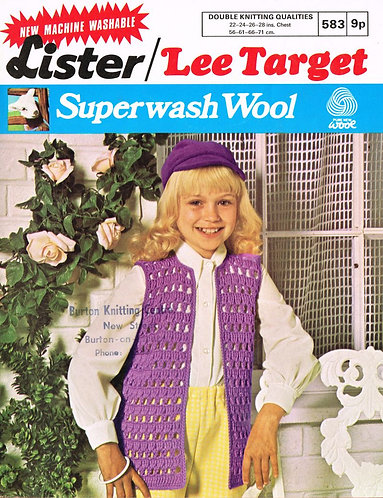 583L girls waistcoat vintage crochet pattern  PDF Download