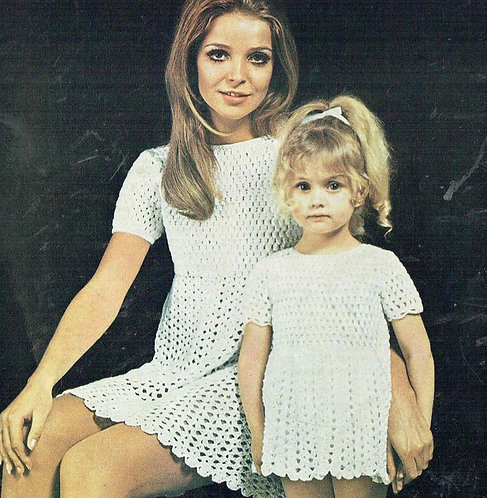 87Tw mother daughter ladies dress vintage crochet pattern  PDF Download