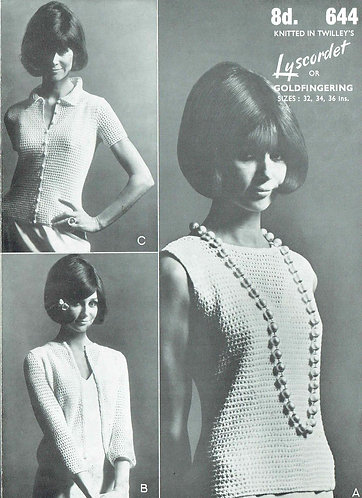 644T ladies summer tops vintage knitting pattern  PDF Download