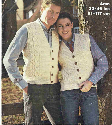 1769 ladies mens aran waistcoat Vintage knitting pattern  PDF Download