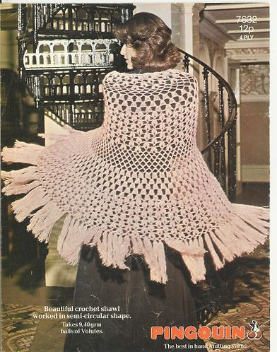 7632P ladies shawl vintage crochet pattern  PDF Download