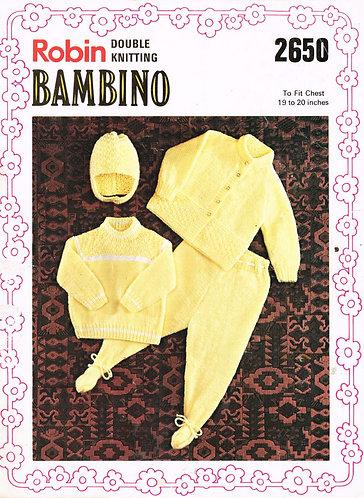 2650R baby pram suit vintage knitting pattern  PDF Download