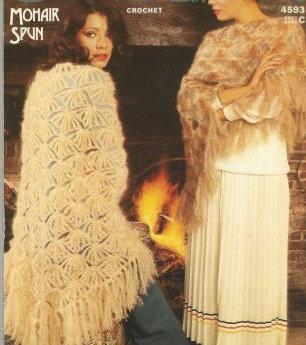 4593 ladies mohair shawl Vintage crochet pattern  PDF Download