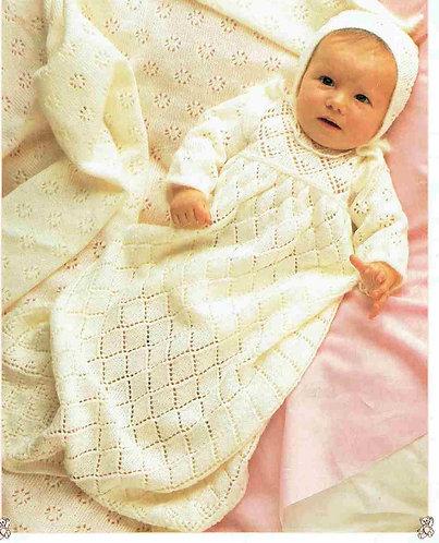 8725P baby christening dress vintage knitting pattern  PDF Download