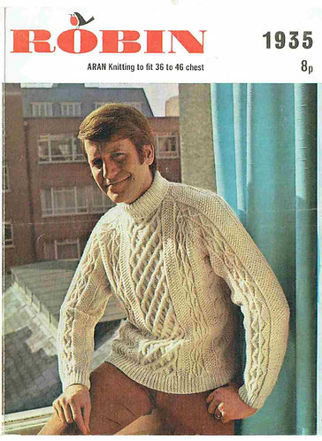 1935R mens aran jumper vintage knitting pattern  PDF Download