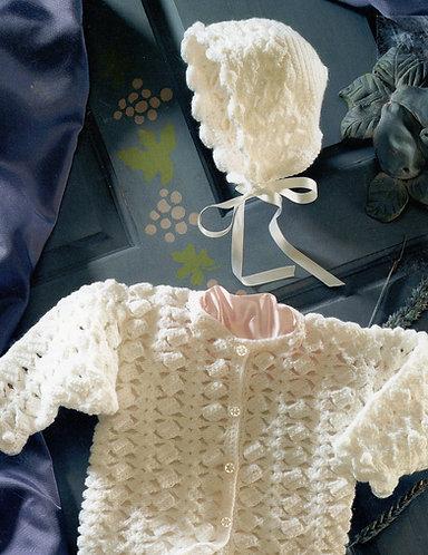 4524H baby cardigan vintage crochet pattern  PDF Download