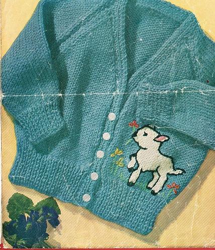 357M baby lamb cardigan vintage knitting pattern  PDF Download