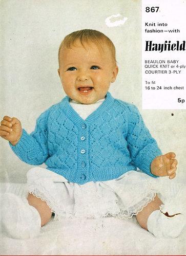 867H baby cardigan vintage knitting pattern  PDF Download