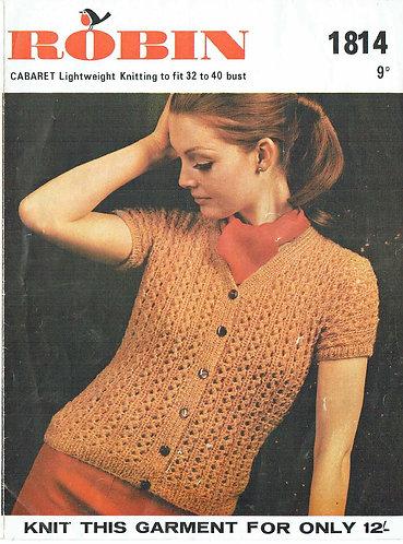 1814R ladies cardigan vintage knitting pattern  PDF Download