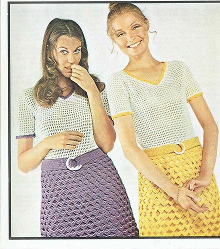 5101T ladies dress vintage crochet pattern  PDF Download