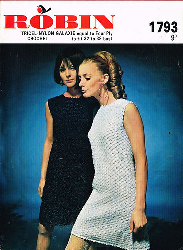 1793R Ladies dress vintage crochet pattern  PDF Download