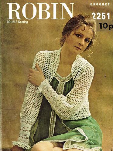 2251R Ladies shrug vintage crochet pattern  PDF Download