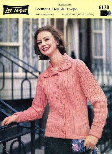 6120Lt ladies cardigan vintage knitting pattern  PDF download