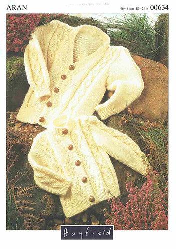 634H baby cardigan vintage knitting pattern  PDF Download