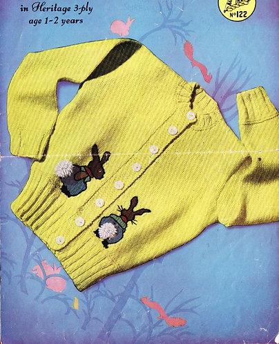 122M baby cardigan set vintage knitting pattern  PDF Download