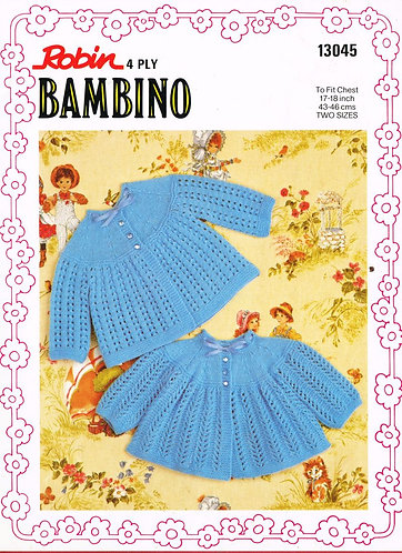 13045R baby matinee coats vintage knitting pattern  PDF Download