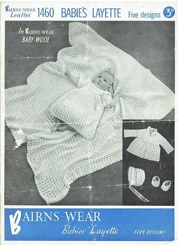 Bairnswear 1460 baby vintage knitting pattern PDF