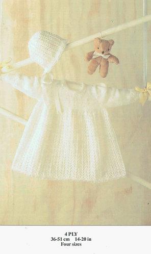 15217R baby dress vintage knitting pattern  PDF Download