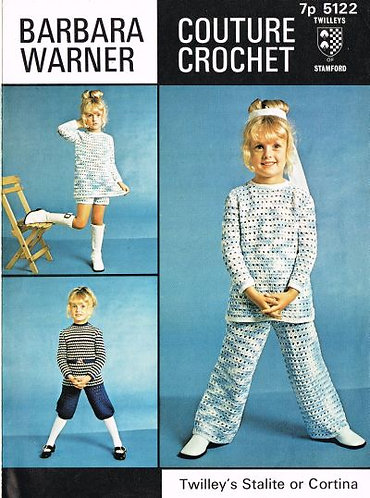 5122Bw girls vintage crochet pattern PDF