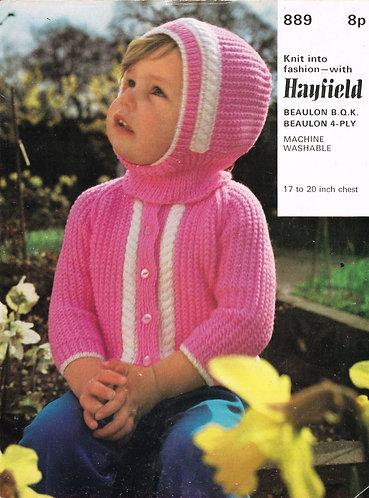 889H baby cardigan vintage knitting pattern  PDF Download