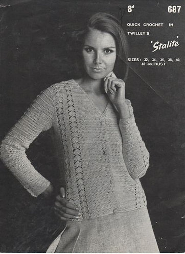 687T ladies cardigan vintage crochet pattern  PDF Download