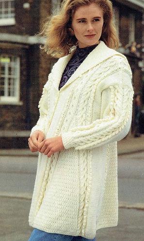 4232H ladies aran cardigan coat Vintage knititng pattern  PDF Download