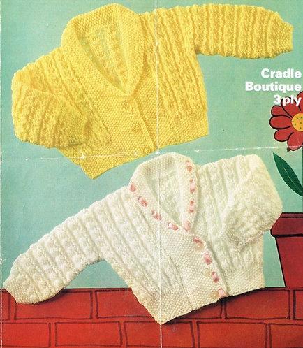 1599M baby cardigan vintage knitting pattern  PDF Download
