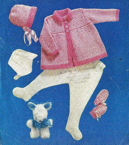 1200M baby pram suit vintage knitting pattern  PDF Download