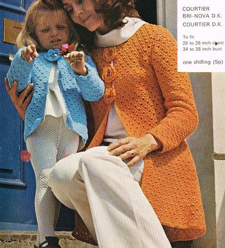 850H mother daughter cardigan coat Vintage crochet pattern  PDF Download